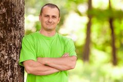 Young man in the forest Stock Photos