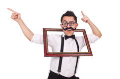 Young man with frame isolated on white Stock Image