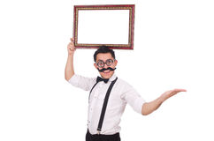 Young man with frame isolated on white Royalty Free Stock Photography