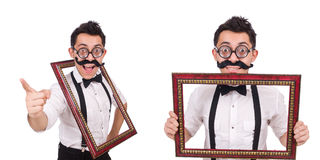The young man with frame isolated on white Stock Images