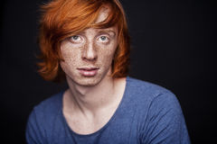 Young man with freckles Stock Photo