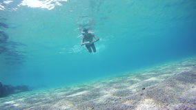 Young Man Free Dives Snorkeling and Floating Through the Frame, Underwater View in Red Sea, Egypt. Man dives into the depths of the blue water, with a mask and stock footage