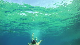 Young Man Free Dives Snorkeling and Floating Through the Frame, Underwater View in Red Sea, Egypt. Man dives into the depths of the blue water, with a mask and stock video