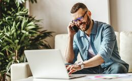 Free Young   Man Freelancer Working At Home On A Computer Stock Image - 173768381