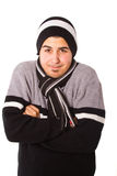 Young man is freezing Royalty Free Stock Photography