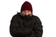Young man freezing. Stock Image