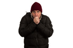 Young man freezing. Royalty Free Stock Photography