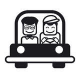 Young man with a friend driving a car. Vector illustration. Stock Image
