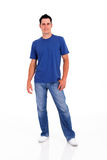 Young man full length. Casual young man full length portrait on white royalty free stock photo