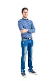 Young man full length portrait. Isolated over white stock photography
