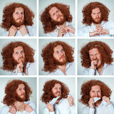 The young man funny face expressions composite on gray background Royalty Free Stock Photography