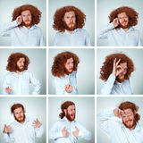 The young man funny face expressions composite on gray background Stock Image