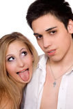 Young man and funny girl. Isolated Royalty Free Stock Photo