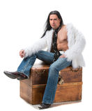 Young man in fur coat Royalty Free Stock Photos