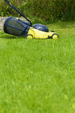 Young man gardener using lawn mower Royalty Free Stock Image