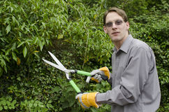 Young man during gardening Royalty Free Stock Photography