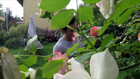 Young man gardening in his home garden stock footage