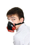 Young Man in Gas Mask Royalty Free Stock Photography