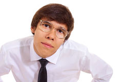 Young man in geek glasses Royalty Free Stock Photos