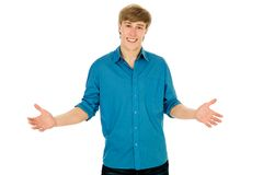 Young man gesturing. Young man standing with open arms Stock Photos