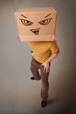 Young man gesturing with a cardboard box on his head with evil f Stock Images