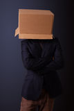 Young man gesturing with a cardboard box on his head Stock Images