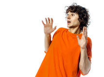 Young man gesturing surprised fear afraid portrait Stock Photos