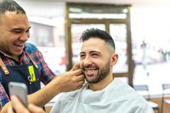 Young Man Getting a Beard Shaved royalty free stock photo