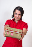 Young man with gift Stock Photo