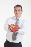 Young Man With A Gift Royalty Free Stock Image