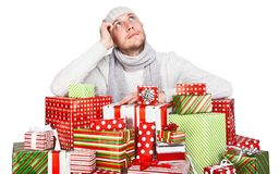 Young man with gifts Royalty Free Stock Photos