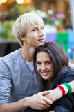 The young man and girl in the cafe Royalty Free Stock Photos