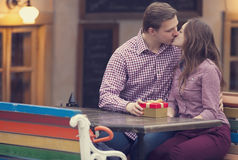 The young man and girl in the cafe Royalty Free Stock Photo