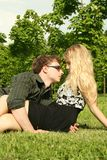 Young man and girl embracing outdoor Royalty Free Stock Image