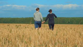 A young man and a girl are holding hands walking along a cereal field. Lovers walk in nature. In the background a blue sky with clouds and a forest. Dating stock footage