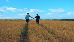 A young man and a girl are holding hands walking along a cereal field. Lovers walk in nature. In the background a blue sky with clouds and a forest. Dating stock video footage