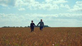 A young man and a girl are holding hands walking along a cereal field. Lovers walk in nature. In the background a blue sky with clouds and a forest. Dating stock video