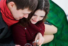 Young man and girl lovers Royalty Free Stock Photos