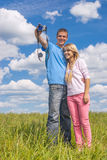 Young man and girl are photographed Stock Photos