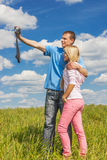 Young man and girl are photographed Stock Photo