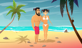 Young man with girl rests on the beach. Summertime cartoon vector illustration.Young man with girl rests on the beach.Vacation on ocean coast.Holiday on sea Stock Photography