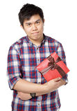 Young man give gift. Asian young man give gift Royalty Free Stock Photography