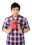 Young man give gift. With whie background Stock Photos