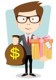 The young man gives a bag with dollars and gift, Royalty Free Stock Photo