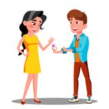 Young Man Gives An Engagement Ring To Happy Girl Vector. Isolated Illustration royalty free illustration