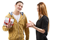 Young man gives gift, valentines day Stock Photography