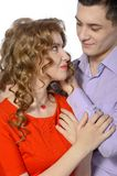 Young man gives his girlfriend a pendant Royalty Free Stock Photography