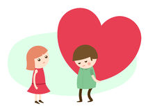 Young man giving a heart to his sweetheart. Vector cartoon illustration of a cute young man giving a romantic big red heart to his sweetheart on Valentines Day Stock Photo