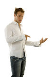 Young man giving speech Stock Photography