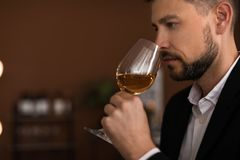 Young man with glass of wine indoors. Professional sommelier Royalty Free Stock Photography
